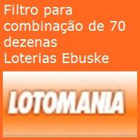 filtrolotomania Filtro para combinação de 70 dezenas da lotomania