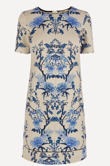 oasis blue print dress