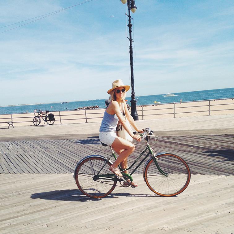 Coney Island Boardwalk biking, green vintage Schwinn bicycle