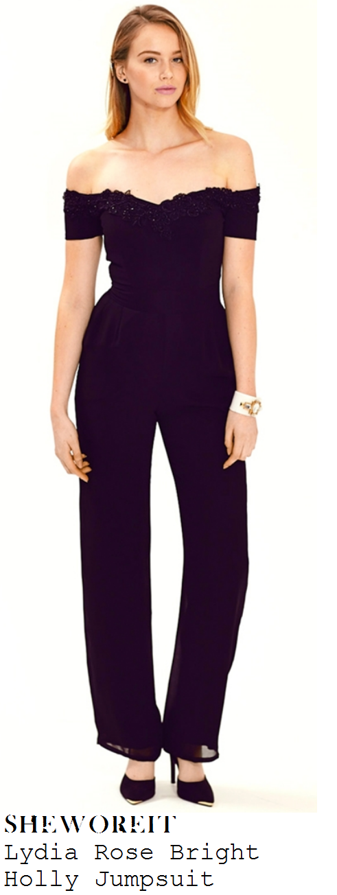 lydia-bright-black-off-the-shoulder-short-sleeve-lace-detail-tailored-jumpsuit