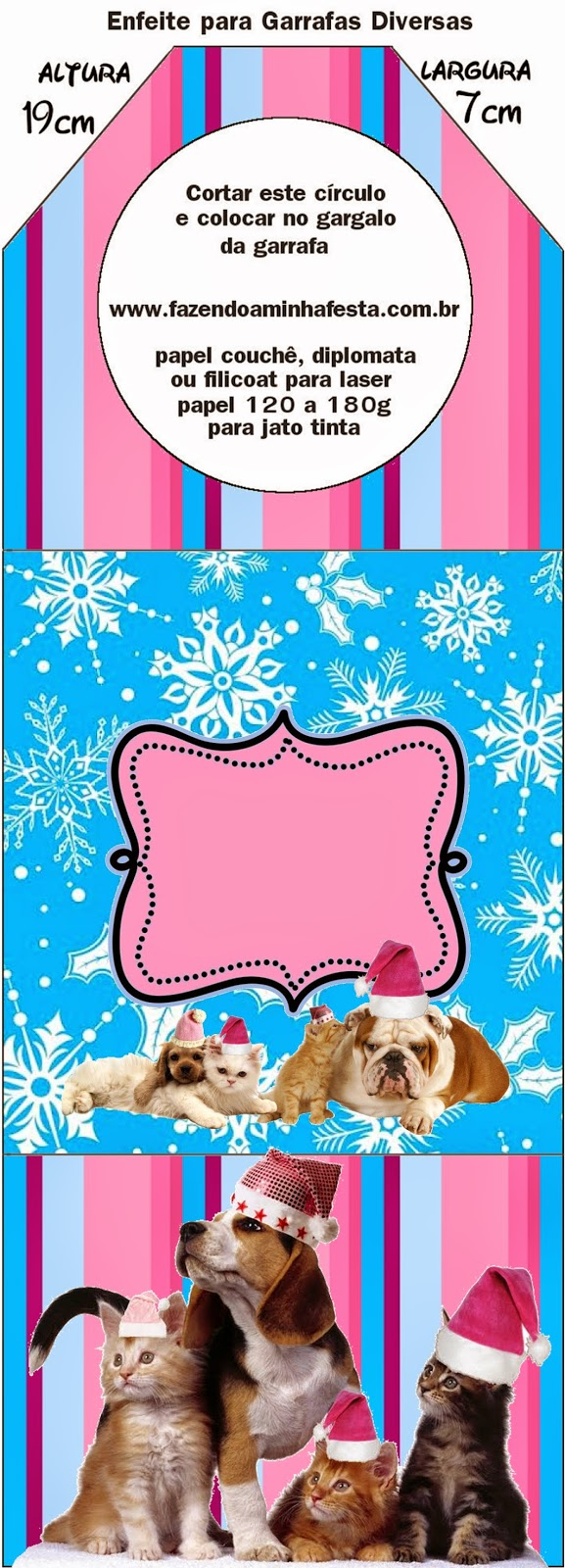 Dogs and Cats in Christmas Free Printable Bookmarks.
