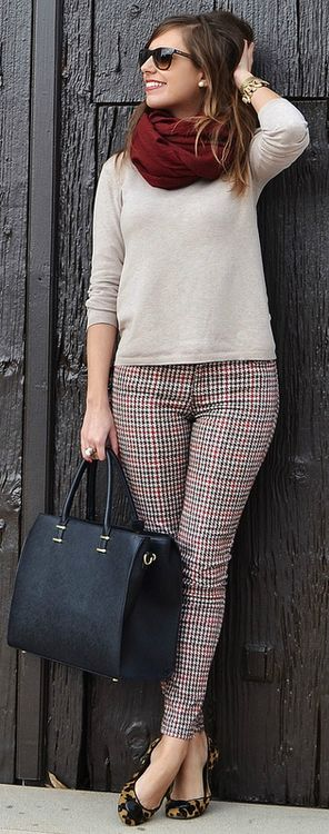 Winter to Spring 2014. Loving these houndstooth cigarette pants!