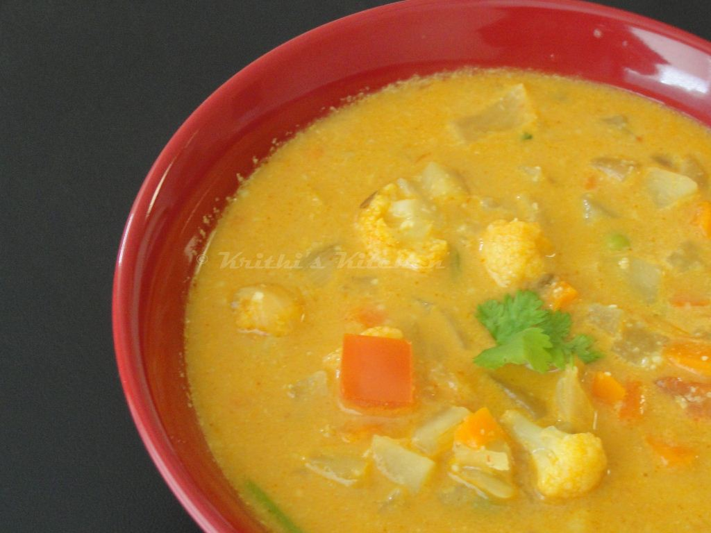 Vegetable Kurma For Chapathi Krithi's Kitchen: Vege...