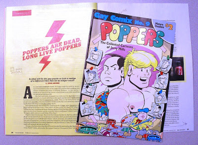 Poppers are dead article Advocate Feb. 2013 and 1986 Poppers comic book cover