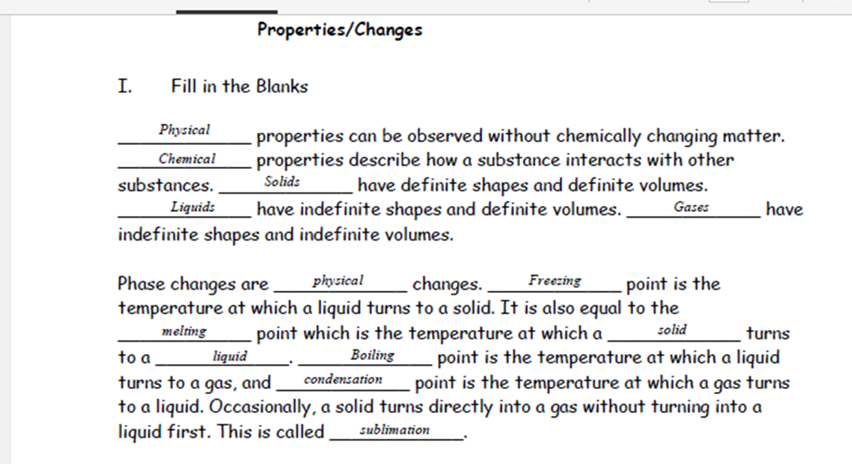 Ms Clarks Physical Science Blog Answer key Physical and – Physical Properties Worksheet