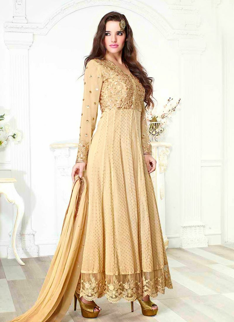 Cream Designer Wear Salwar Kameez