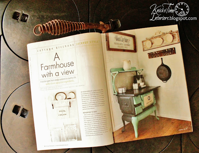 farmhouse kitchen featured in Cottages and Bungalows magazine - www.KnickofTime.net