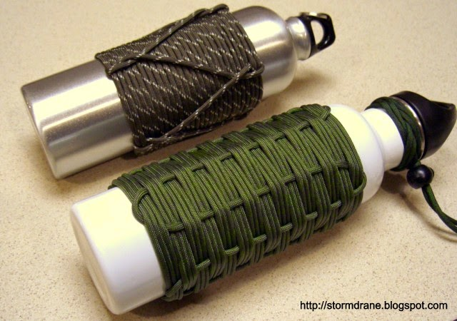 Stormdrane 39 s blog adding paracord to water bottles and for Paracord koozie how to make