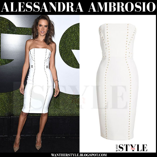 Alessandra Ambrosio in white strapless versace dress and gold pumps what she wore