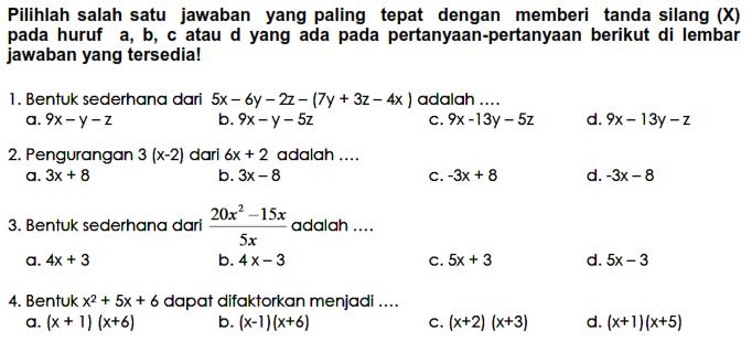 Soal Uts Matematika Smp Kelas 8 Semester 1 Kumpulan Soal Ulangan