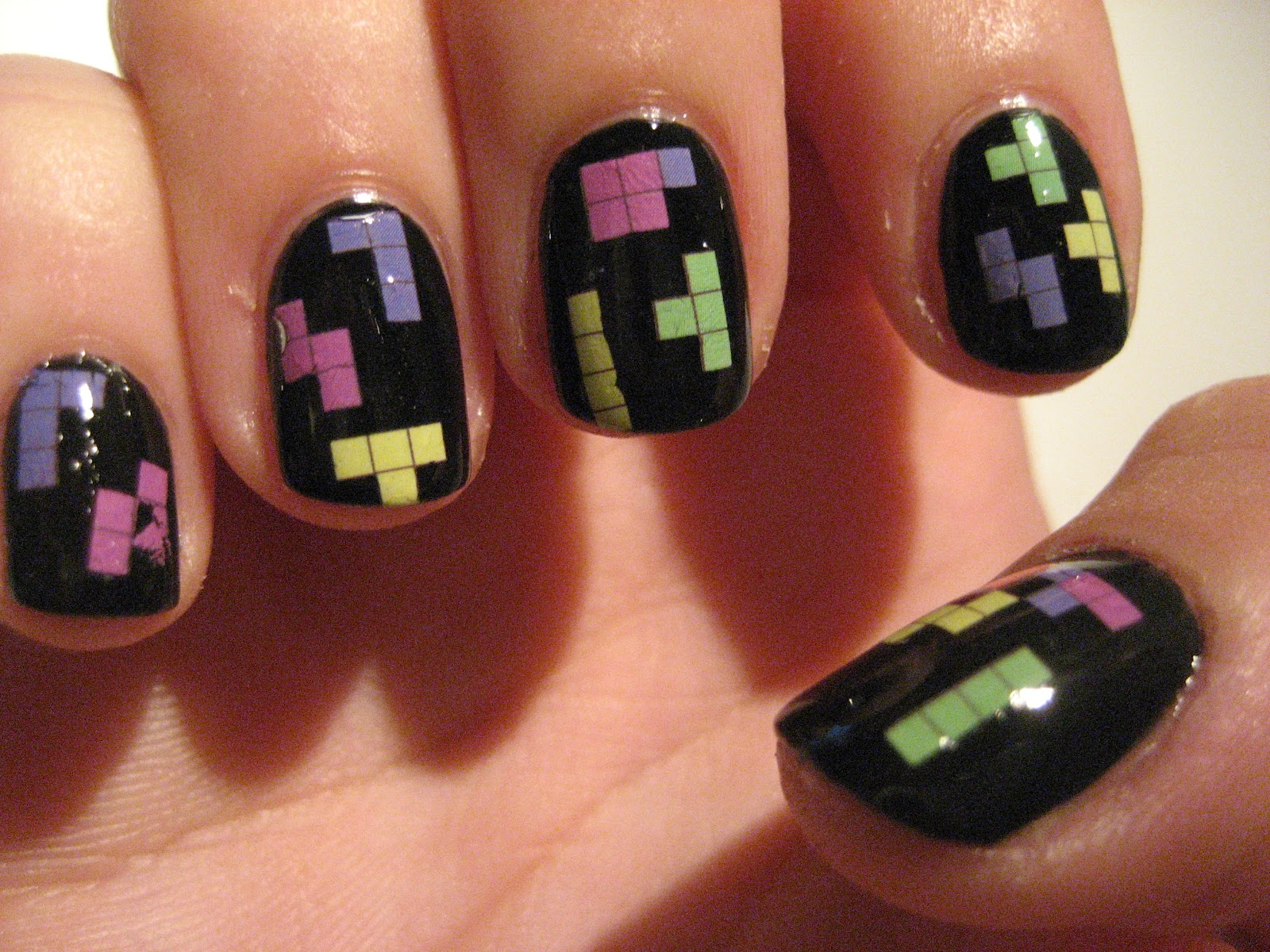Nail Polish Tetris Nails