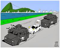 Charge visita do papa ao Brasil - Escolta do Bope