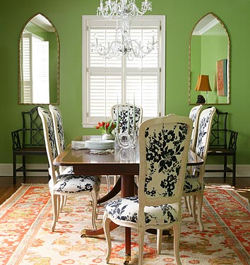 Chinoiserie Chic Same Green Dining Room Two Ways