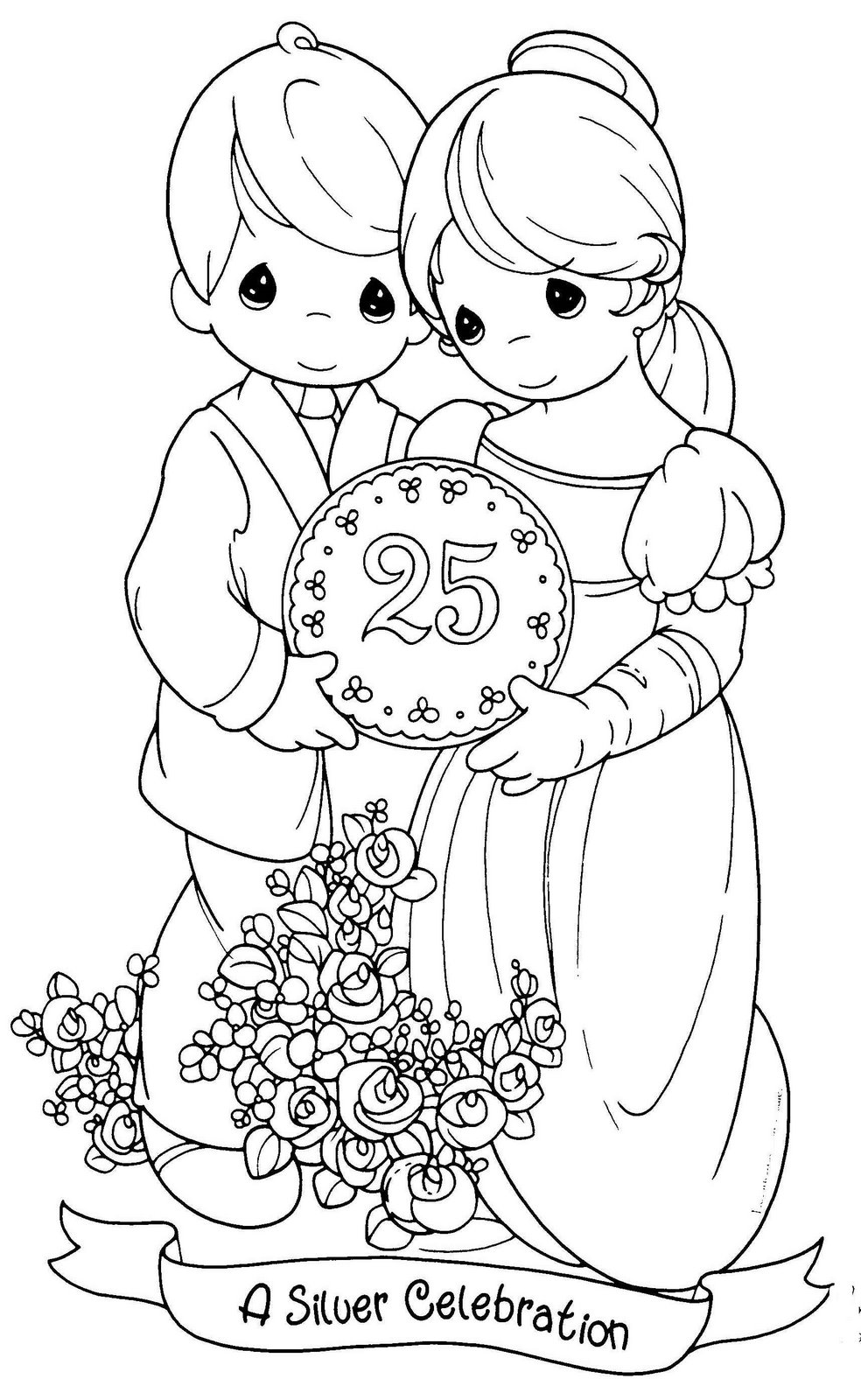 Dibujos para colorear precious moments for Free printable anniversary coloring pages