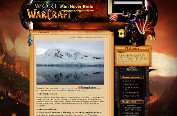 Warcraft Games Jquery Blogger Theme Template