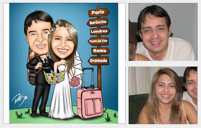 caricaturas de noivos planejando a viagem