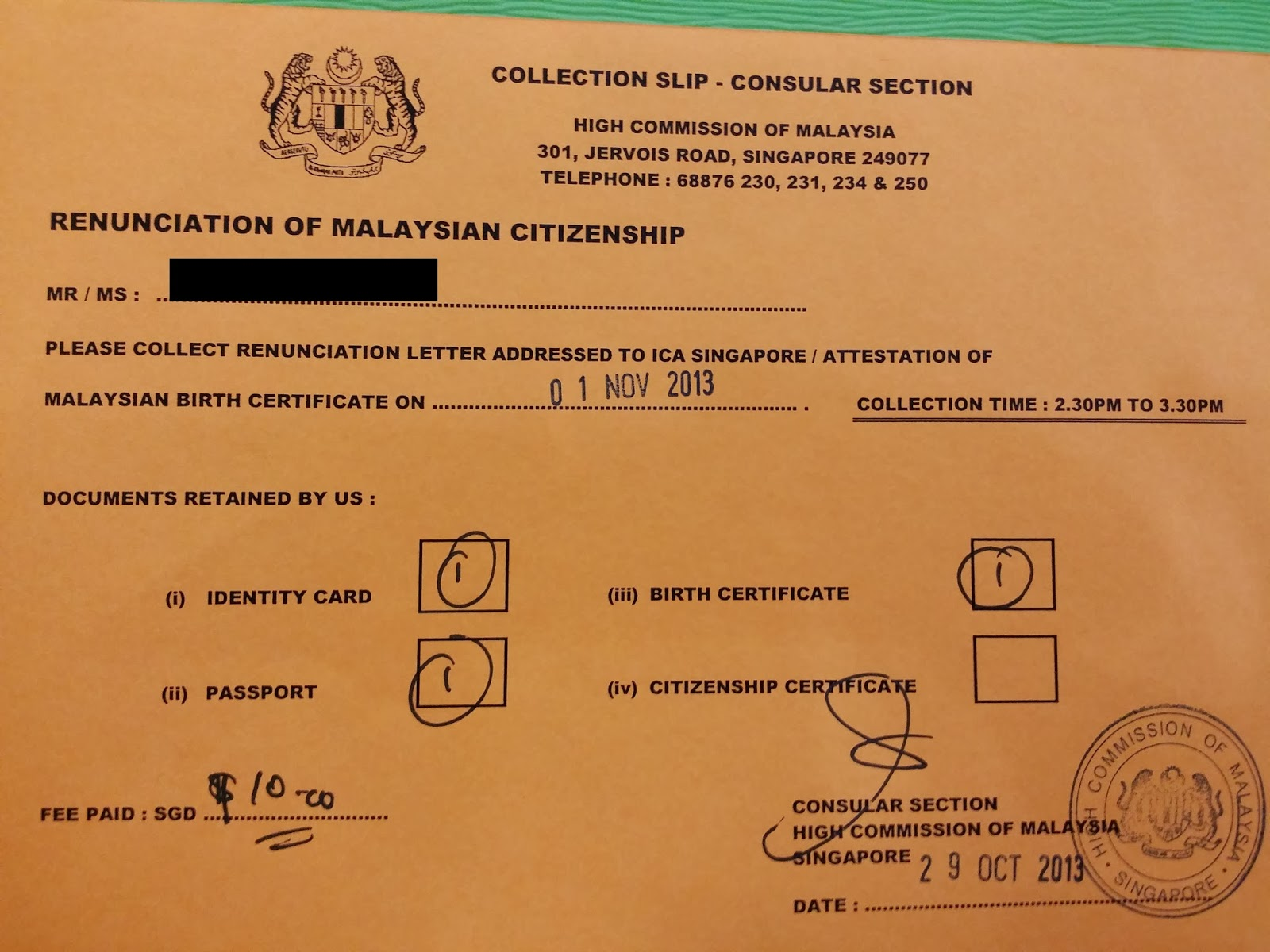 World without strangers renounce malaysian citizenship in as you can see i submitted my documents on 29 october 2013 and it was reflected on the slip that i can collect it on 1st november 2013 between 230pm to aiddatafo Choice Image