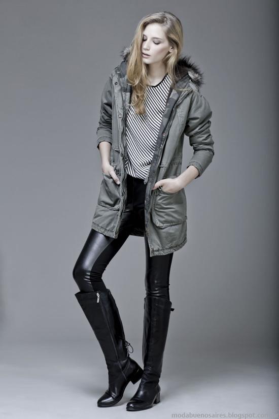 Camperas con capucha y detalles en piel Koxis otoño invierno 2014.