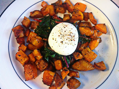 Roasted squash with sauted chard and a poached egg.