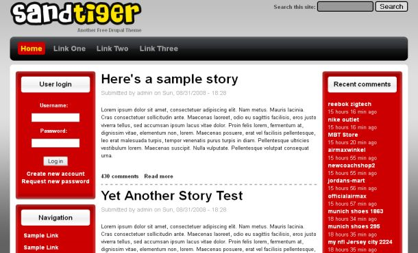 Free Simple Red Gray Drupal Skin Theme