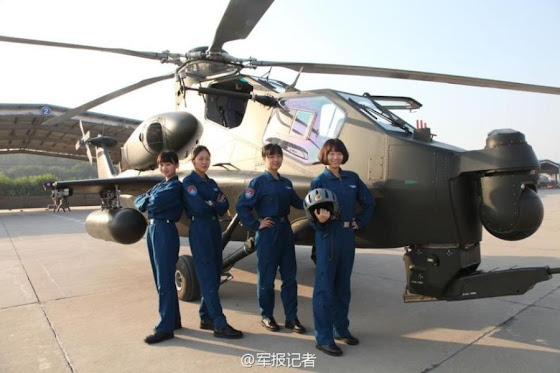 China's first batch of five female attack helicopter pilots