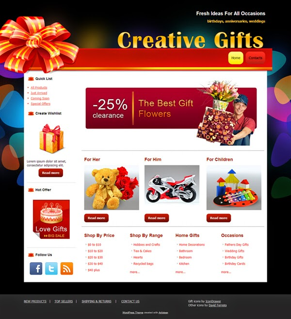 Creative Gifts - Free Wordpress Theme