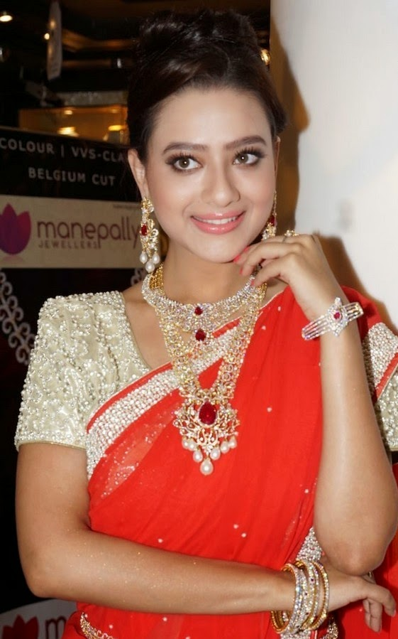 Actress Madalasa Sharma Latest Cute Hot Exclusive Transparent Red Saree Navel Show Spicy Photos Gallery at Manepally Dhanteras Jewellery Collections Launch