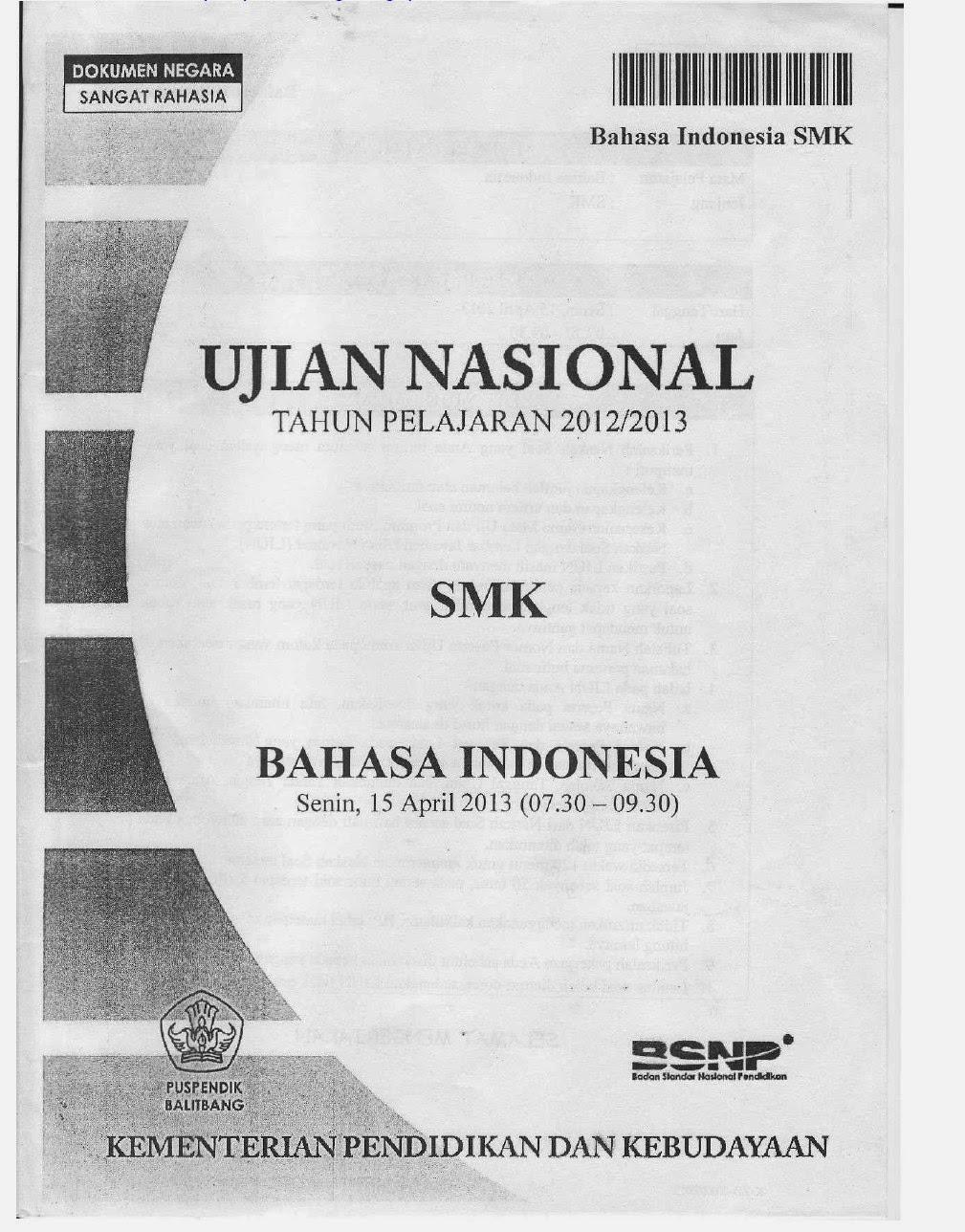 Soal UN Bahasa Indonesia  SMK Tahun 2013