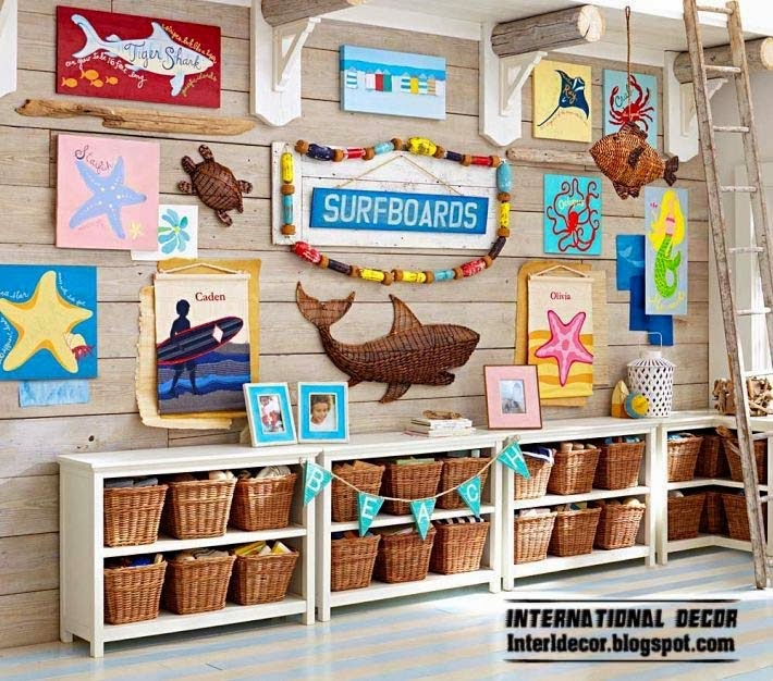 wall decor ideas for children room marine style, themes