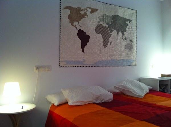 mapa patchwork quilt para colgar