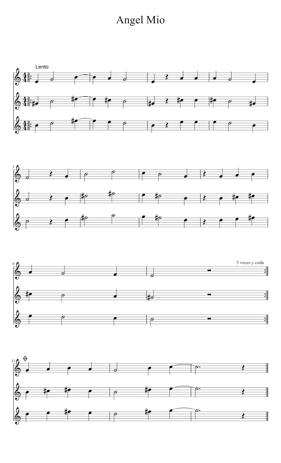 Partitura Armonización de Angel mio En Clave de Sol