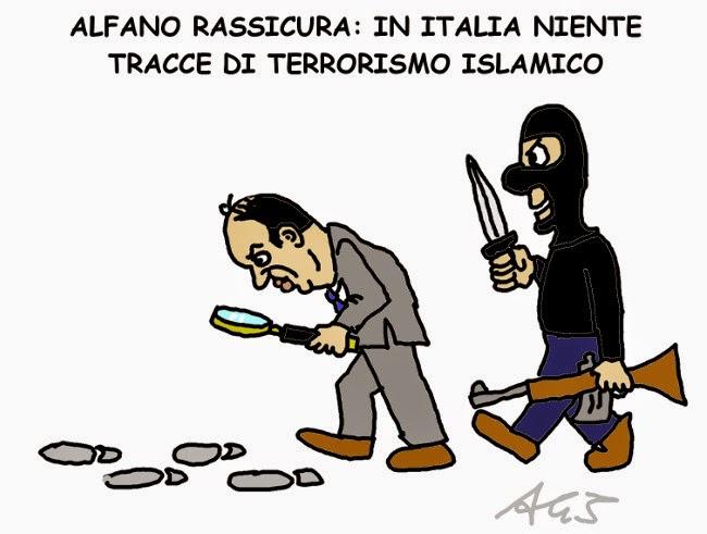 Alfano terrorismo satira vignetta