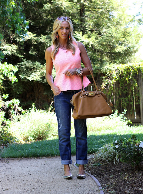 boyfriend jeans peach peplum top
