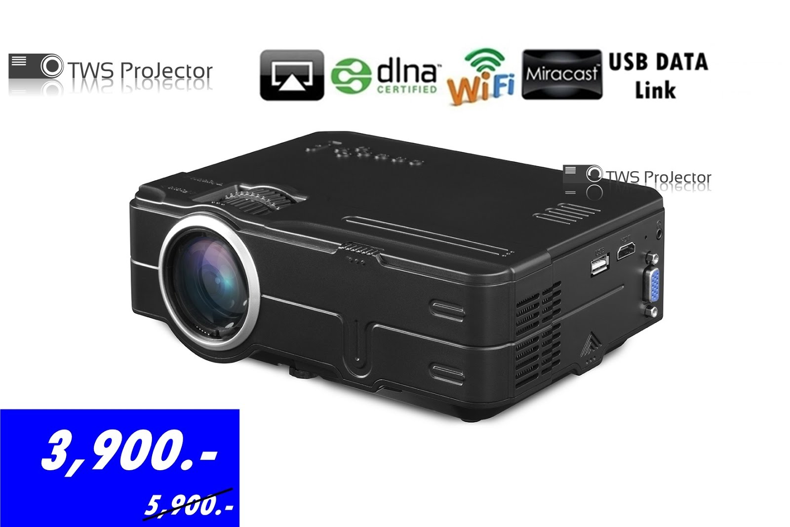 MINI PROJECTOR Ds812 Wifi and Usb Data Link (ALL IN ONE) 1500 Lumens  3,900 B