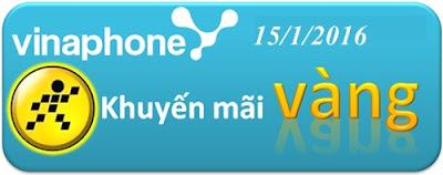 Vinaphone khuyến mãi tặng 50% giá tri thẻ nạp ngày 15/1/2016