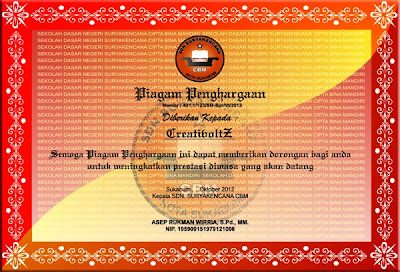 Contoh Piagam Penghargaan Simple Red With Yellow (Cdr Format)