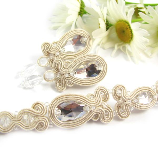 Bransoletka i kolczyki ślubne z kryształami Swarovski