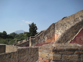 The original harbor entrance to Pompeii with Vesuvius in the distance.