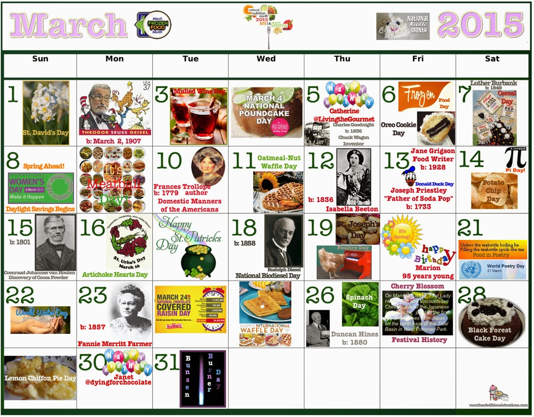 March Food Celebrations Clickable Calendar