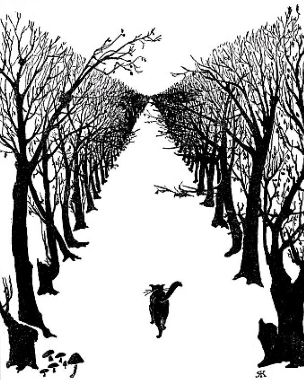 Rudyard Kipling: The Cat that Walked by Himself, illustration.