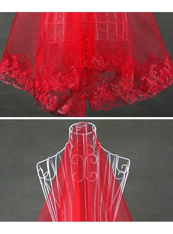 Velo Rojo para Vestido de Novia de Capa Simple con Bordes Bordados