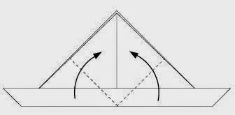 Bước 4: Gấp chéo hai góc của tờ giấy lên phía trên.