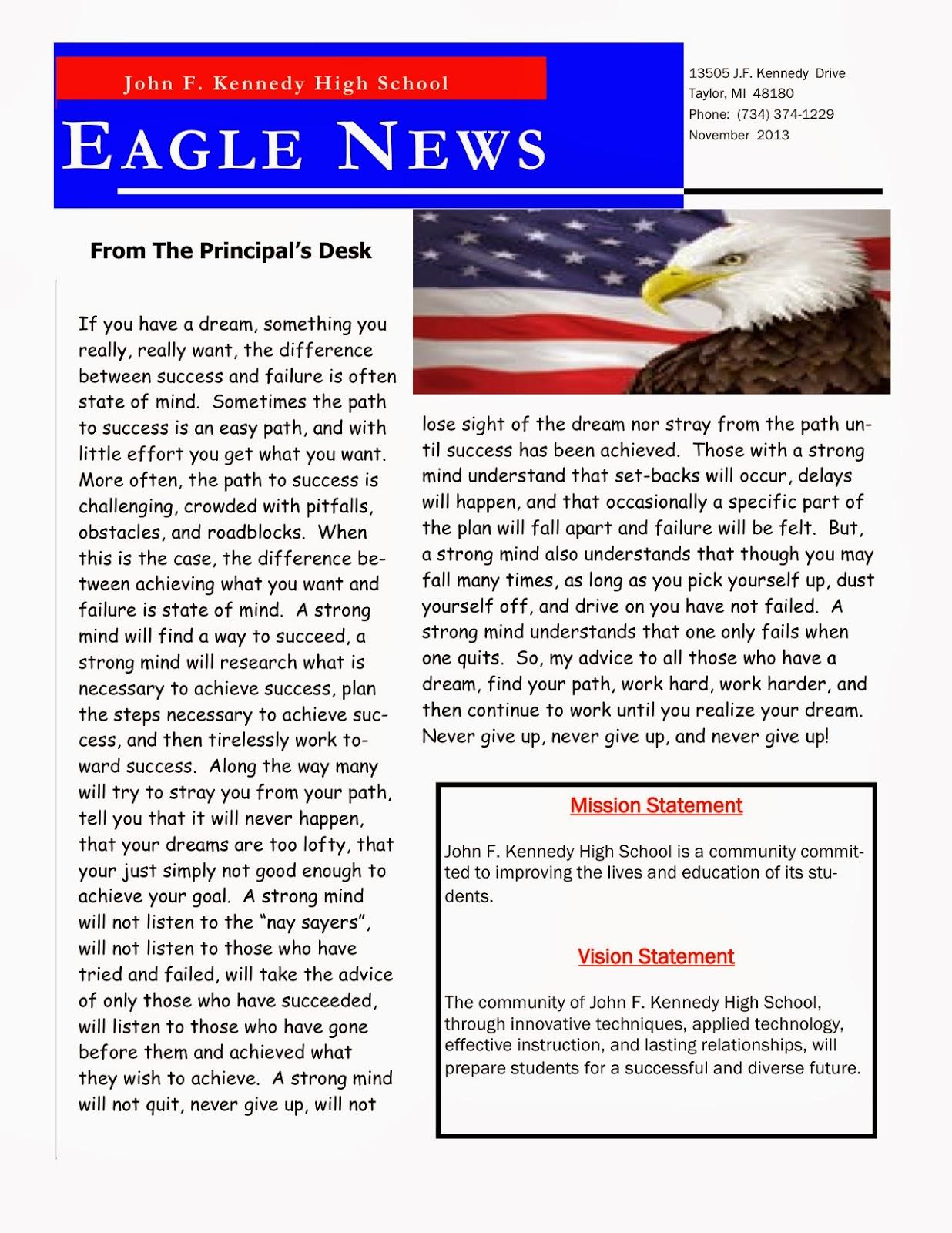 talking taylor schools kennedy high school november newsletter