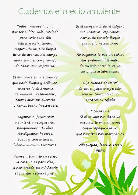 """Hogares Verdes Mansurle: Poema """"Cuidemos el medio ambiente"""""""