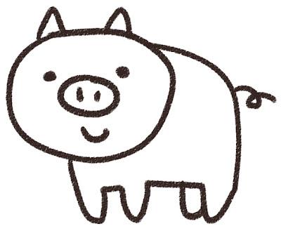ブタのイラスト(動物) 白黒線画