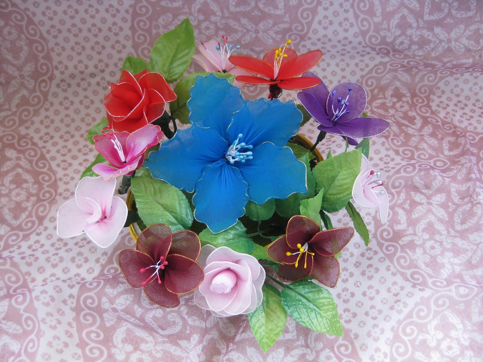 himaja\'s crafts: stoking cloth flower basket