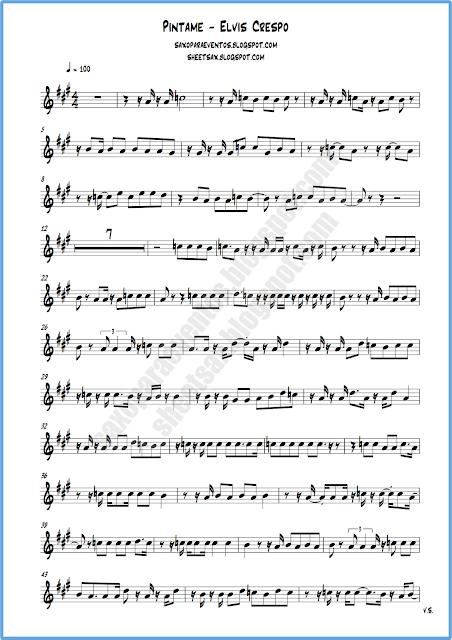 Partitura píntame saxo alto hoja 1