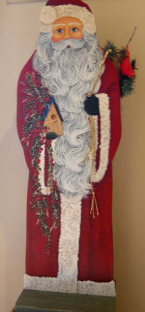painted birdhouse santa