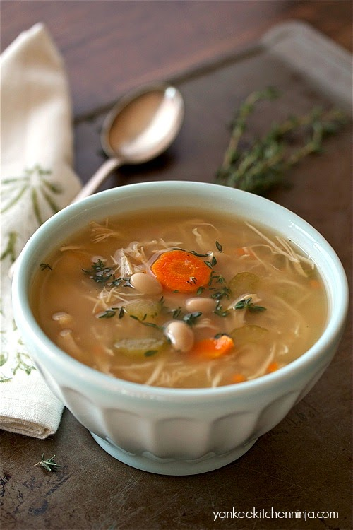 easy chicken and white bean soup made in your crockpot slow cooker