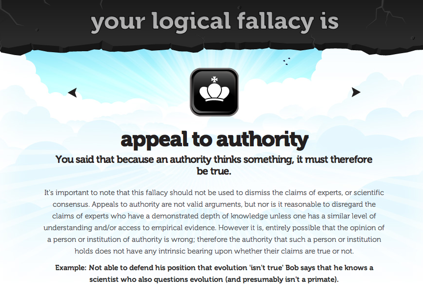 Eville Times Logical Fallacy 15 Appeal To Authority